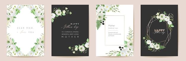 День матери красивые цветочные открытки. набор векторных акварель цветы кадр. весенний цветочный дизайн для материнской вечеринки, женский золотой шаблон. современный плакат, открытка-баннер для мамы, приглашение на элегантную природу