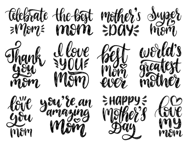 Mothers day calligraphy illustration set.