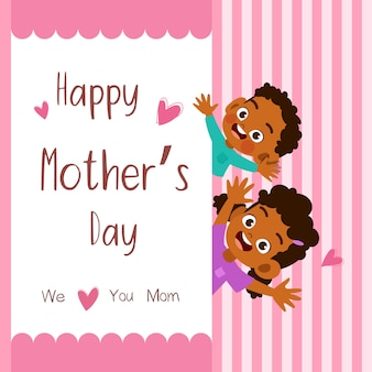 Mothers day card greeting vector illustration