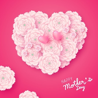 분홍색 배경에 심장 모양 꽃의 어머니의 날 카드