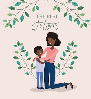 Mothers day card with black mother and son leafs crown