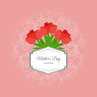 Mothers day card with red tulips