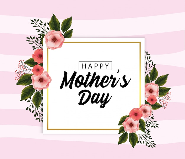 Mothers day card with tropical flowers plants