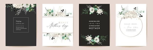 Классические цветочные поздравления с днем матери. набор векторных акварель цветы кадр. весенний цветочный дизайн для материнской вечеринки, женский золотой шаблон. современный плакат, открытка-баннер для мамы, пригласительные открытки элегантная природа