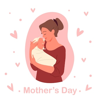 Mothers day concept vector illustration. cartoon young happy mom holding child infant in hands with love, mother loving and hugging sleeping newborn baby kid, pink greeting card poster template