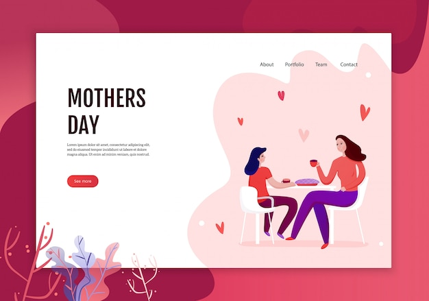 Mothers day concept of web banner with mom and daughter during eating of festive pie illustration