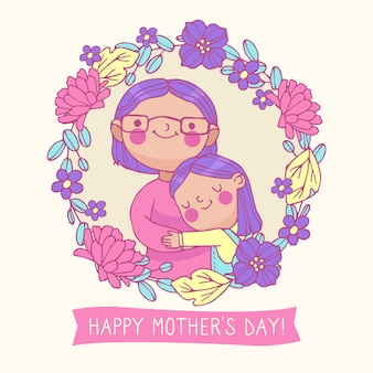 Mothers day drawing illustration concept