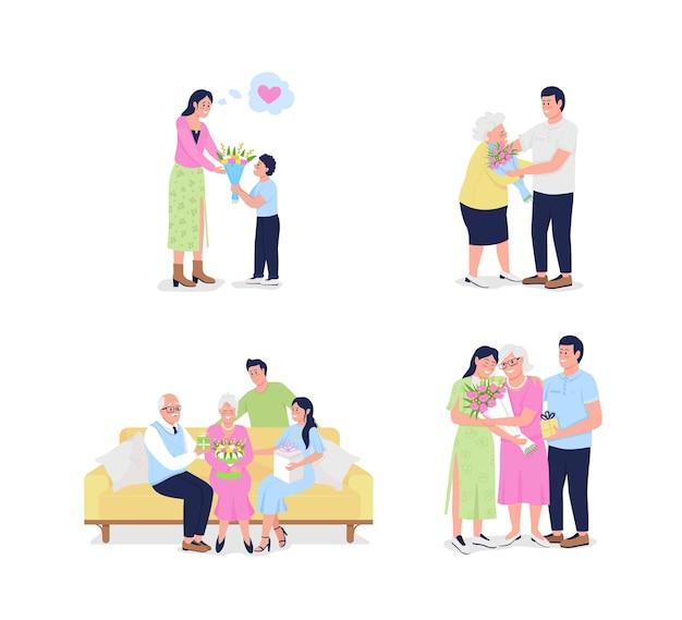 母の日フラット詳細文字セット。成熟した両親を持つ成人した子供。家族が一緒に孤立した漫画コレクションを祝う