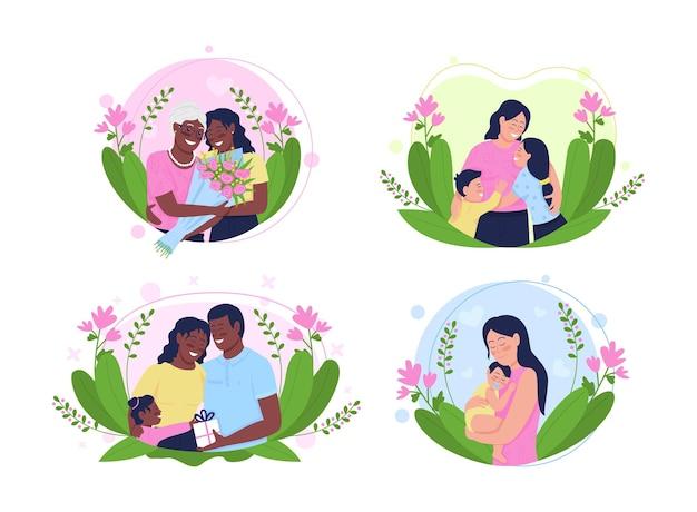 Mothers day flat illustration set.