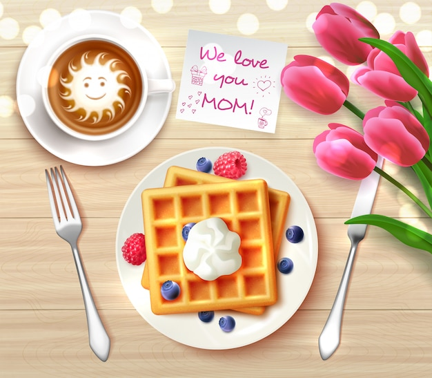 Mothers day flatlay composition with sticker we love you mom and waffles coffee flowers for gift  illustration