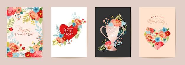 母の日フローラルグリーティングカードセット。花と春の幸せな母の日の休日のポストカード、チラシテンプレートの花束の心、賞賞かわいいポスター。ベクトルイラスト