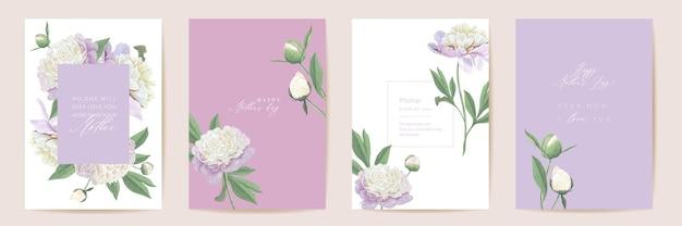 День матери цветочные векторные карты. приветствие пион цветы шаблон дизайна. акварель минимальный набор открыток. весенний цветок пригласить типографскую рамку. современная брошюра женщина