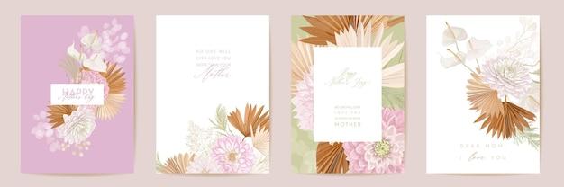母の日花のベクトルカード。熱帯の花の挨拶、ヤシの葉のテンプレートデザイン。水彩絵葉書セット。ドライパンパスグラスフレーム。春の花はタイポグラフィを招待します。女性の日のパンフレット