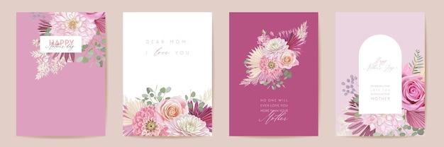 母の日花のベクトルカード。熱帯の花の挨拶、ヤシの葉のテンプレートデザイン。水彩絵葉書セット。ドライパンパスグラスフレーム。春の花はタイポグラフィを招待します。女性の現代パンフレット
