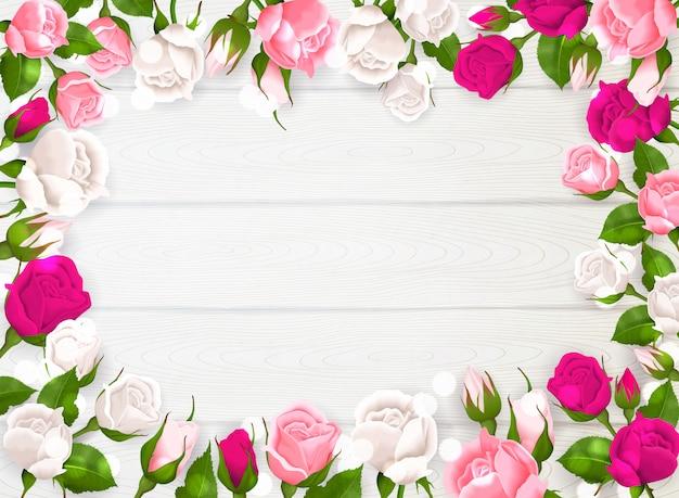 흰색 나무 배경 일러스트 레이 션에 장미의 분홍색 흰색과 자홍색 색상으로 어머니의 날 프레임