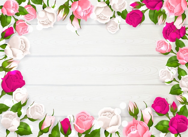 Mothers day frame with pink white and fuchsia colors of roses on white wooden background  illustration