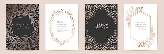 母の日ゴールデンラグジュアリーグリーティングセット。母のパーティー、女性の春のカードのベクトル花の葉のデザイン。モダンなポスター、ママバナーポストカード、ゴールドライン輪郭テンプレート、自然曲線チラシ