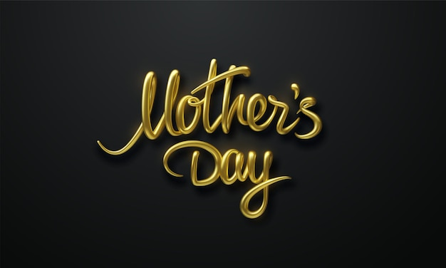 Mothers day golden sign on black background
