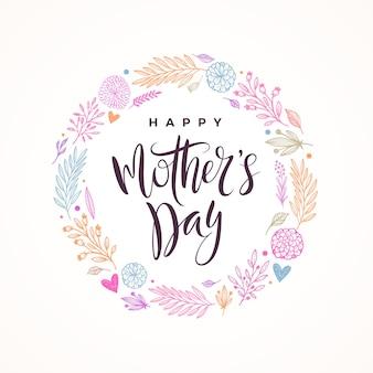 母の日グリーティングカード。書道と手描きの花の花輪。
