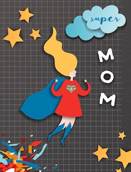 Mothers day greeting card in comics paper cut style. super mom character in red cape paper cut design for mother day banner, poster, background. vector illustration