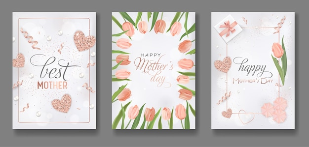 Mothers day greeting card design set. happy mother day flyer with tulip flowers, gifts and golden glitter hearts for poster, banner, invitation. vector illustration
