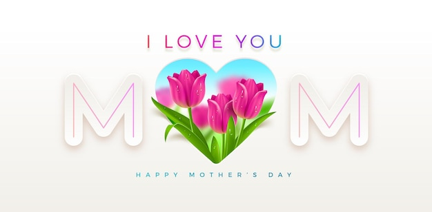 Mothers day greeting card design with heart and tulips flowers