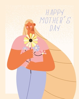 Mothers day greeting card illustration