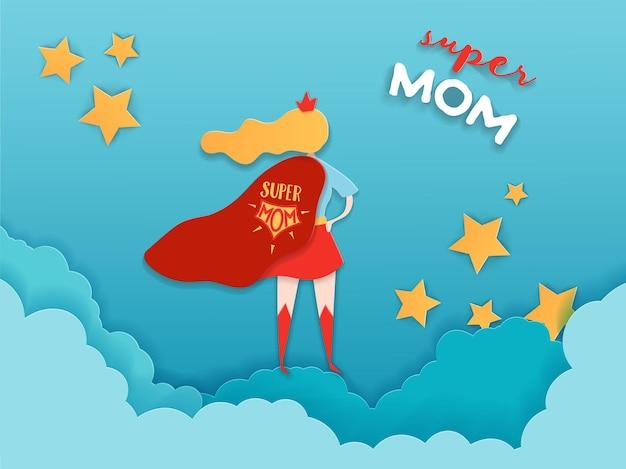 ペーパーカットスタイルの母の日グリーティングカード。母の日のバナー、ポスター、背景の赤いケープデザインのスーパーママキャラクター。ベクトルイラスト