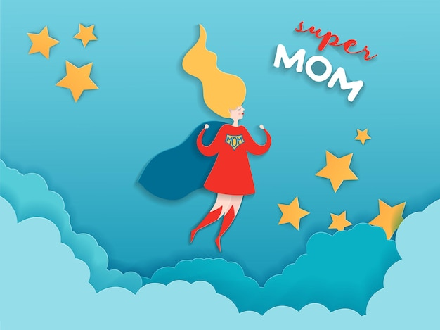 Mothers day greeting card in paper cut style. super mom character in red cape design for mother day banner, poster, background. vector illustration