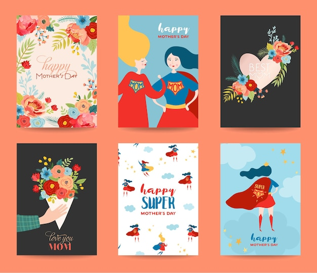 어머니의 날 인사말 카드 세트입니다. 여자 슈퍼 히어로 캐릭터와 꽃 꽃다발 해피 어머니의 날 디자인. 꽃 봄 배너, 포스터, 전단지. 벡터 일러스트 레이 션