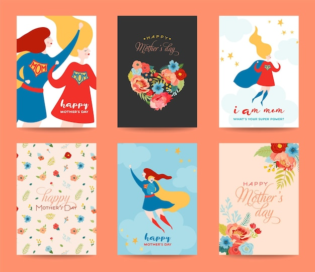 Mothers day greeting card set. happy mother day design with woman superhero character and flowers bouquet. floral spring banner, poster, flyer. vector illustration