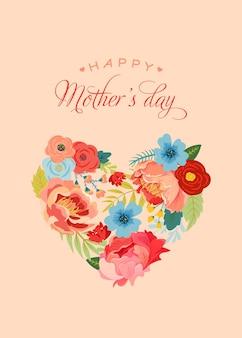 꽃 꽃다발과 함께 어머니의 날 인사말 카드입니다. 마음으로 해피 어머니의 날 꽃 배너입니다. 최고의 엄마 포스터, 전단지 봄 축하 디자인. 벡터 일러스트 레이 션
