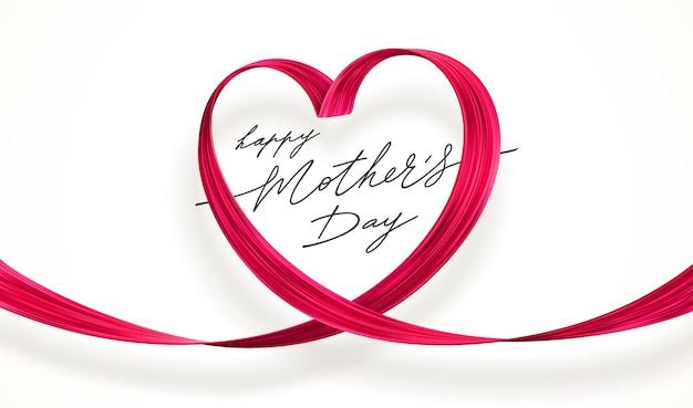 ピンクのハートの母の日グリーティングカード。ハートの形にブラシストロークをペイントします。