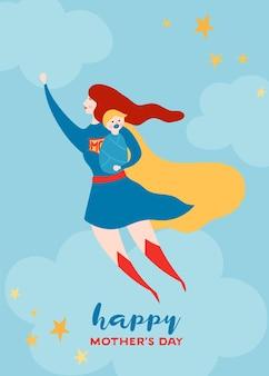 スーパーママと母の日グリーティングカード。母の日のポスター、バナー、背景の赤い岬のデザインで赤ちゃんのキャラクターと空飛ぶスーパーヒーローの母。ベクトルフラット漫画イラスト Premiumベクター
