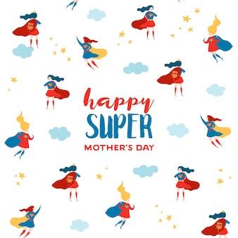 Поздравительная открытка ко дню матери с супер мамой. характер матери супергероя в красном дизайне накидки для плаката дня матери, баннера, фона. векторная иллюстрация плоский мультфильм Premium векторы