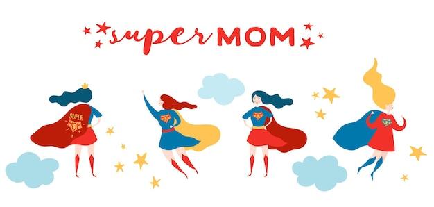 スーパーママと母の日グリーティングカード。母の日のポスター、バナーの赤いケープデザインのスーパーヒーローの母キャラクター。ベクトルフラット漫画イラスト