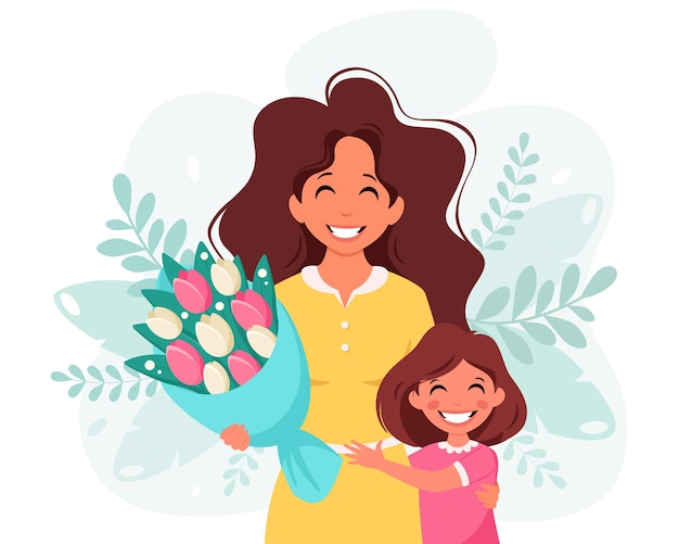 Mothers day greeting card woman with bouquet of flowers and daughter