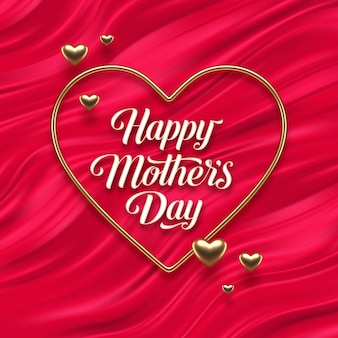 Mothers day greeting in heart shaped golden frame on red fluid waves.