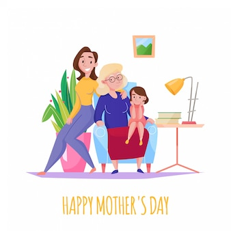 Mothers day home family celebration flat composition with 3 generations women grandma mother little daughter  illustration