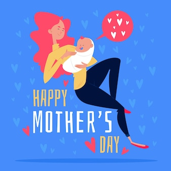 Mothers day illustrated concept