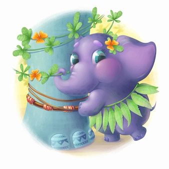 Mothers day illustration ute little elephant near to the mother elephant