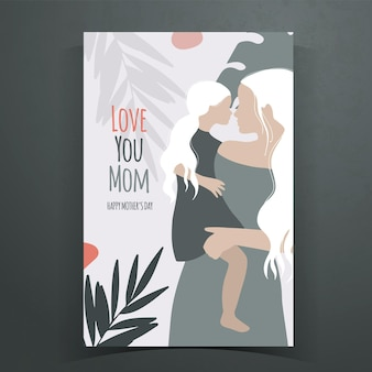 Mothers day illustration with mother and daughter silhouette
