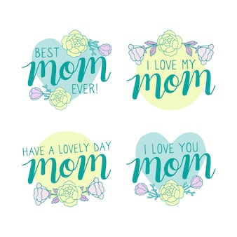 Mothers day label collection draw concept