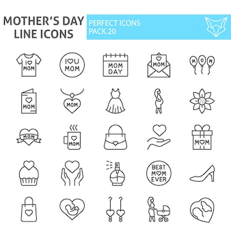 Mothers day line icon set, motherhood collection
