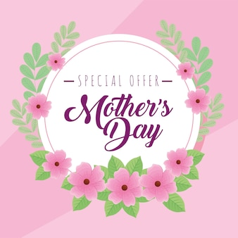 Mothers day offer in circle Premium Vector