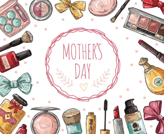 화장품과 어머니의 날 포스터입니다. 속눈썹, 립스틱 및 향수, 파우더 및 메이크업 브러쉬. 매니큐어, 기초 벡터 개념. 립스틱과 메이크업 그림 엄마 날 배너