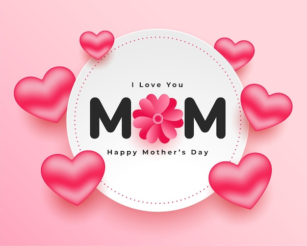 Mothers day realistic hearts card design