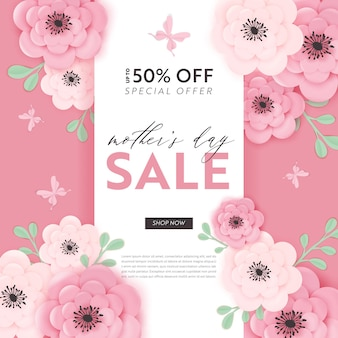 Mothers day sale design. spring promo discount banner template with paper cut flowers for flyer, poster, voucher advertising. vector illustration