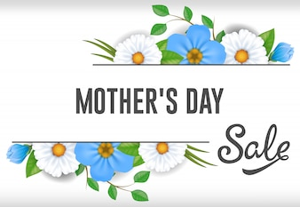 Mothers Day Sale lettering with blue and white flowers. Mothers Day sale advertising.