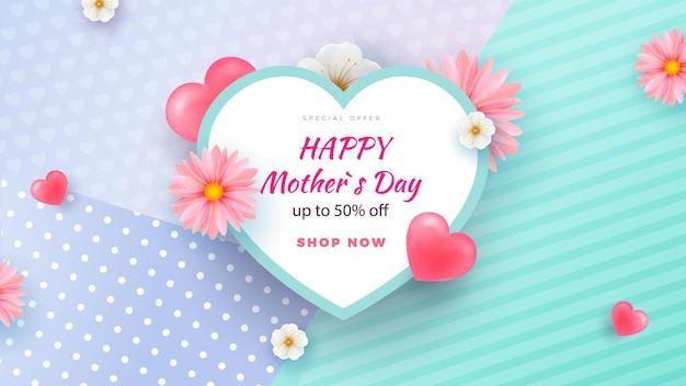 Mothers day sale on light background. heart shape.